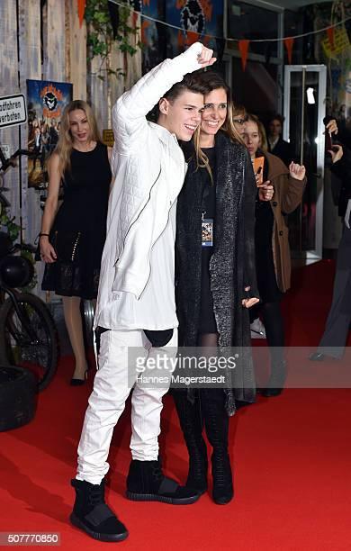 Conny Lehmann and son Mats Lehmann during 'Die Wilden KerleDie Legende Lebt' Premiere at Mathaeser Filmpalast on January 31 2016 in Munich Germany