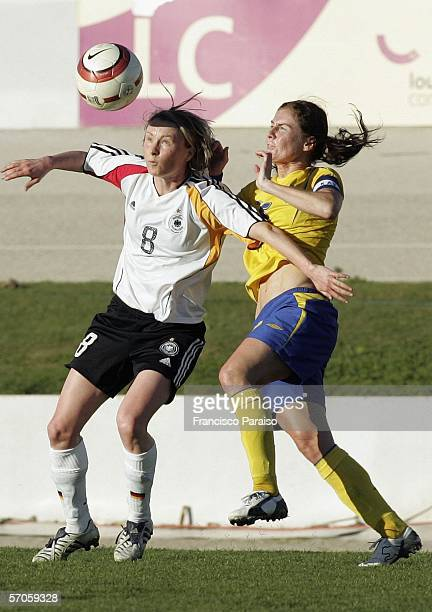 Conny Pohlers of Germany and Caroline Seger of Sweden battle for the ball during the Womens Algarve Cup match between Germany and Sweden on March 11,...