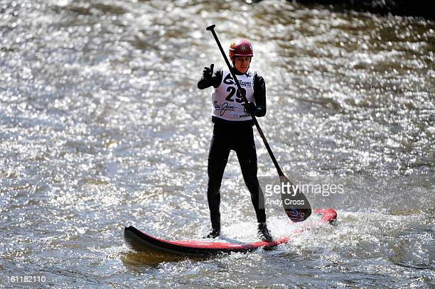 Noa Ginella, from Honolulu Hawaii, negotiates the Gore River during the SUP Surf Sprint at the 10th annual Teva Mountain Games in Vail Saturday, June...
