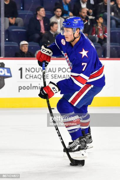 Conor Allen of the Rochester Americans takes a shot during the warmup prior to the AHL game against the Laval Rocket at Place Bell on October 25 2017...