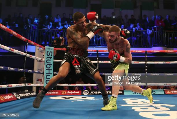 Conor Benn and Cedrick Peynaud in the Welterweight contest at York Hall London PRESS ASSOCIATION Photo Picture date Wednesday December 13 2017 Photo...