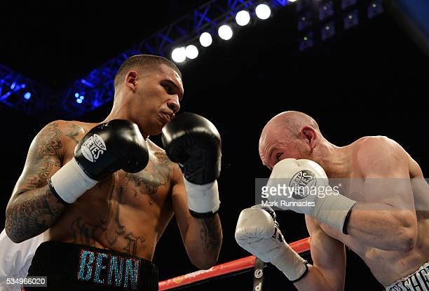 Conor Benn and Luke Keleher during an undercard bout ahead of the WBA world superlightweight title fight between Ricky Burns and Michele Di Rocco at...