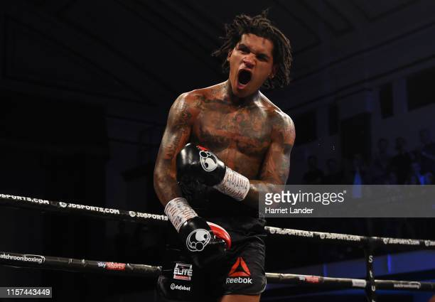 Conor Benn celebrates following his victory in the WBA Continental Welterweight Championship fight between Conor Benn and Jussi Koivula at York Hall...