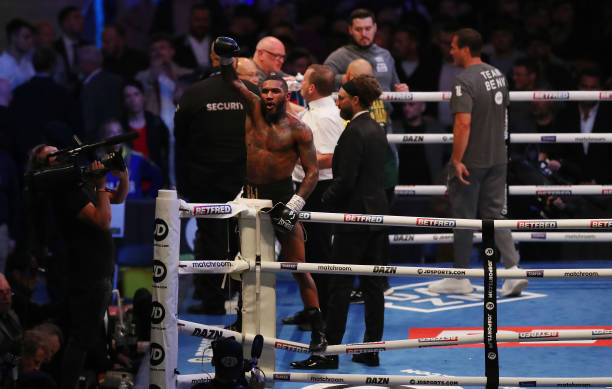 Conor Benn celebrates victory after the WBA Continental Welterweight Title fight between Conor Benn and Adrian Granados at Emerald Headingley Stadium...