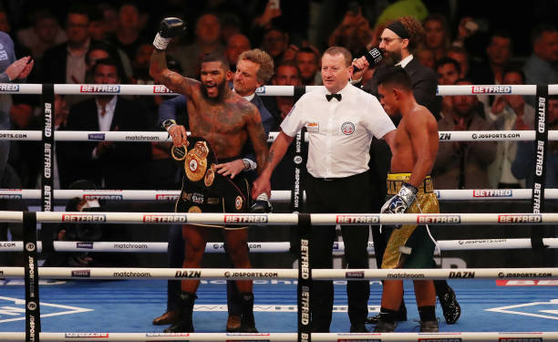 Conor Benn celebrates victory as Adrian Granados reacts after the WBA Continental Welterweight Title fight between Conor Benn and Adrian Granados at...