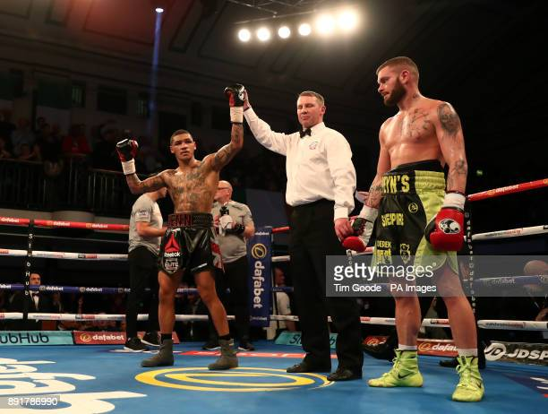 Conor Benn celebrates victory over Cedrick Peynaud in the Welterweight contest at York Hall London