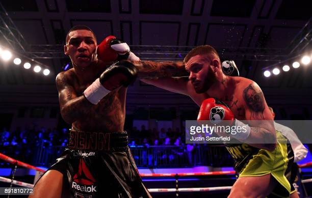 Conor Benn gets hit by Cedrick Peynaud during there Welterweight Contest at York Hall on December 13 2017 in London England