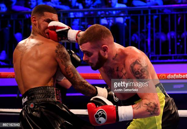 Conor Benn in action against Cedrick Peynaud during there Welterweight Contest at York Hall on December 13 2017 in London England