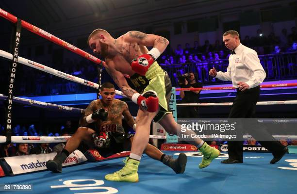 Conor Benn is knocked down as he fights Cedrick Peynaud in the Welterweight contest at York Hall London