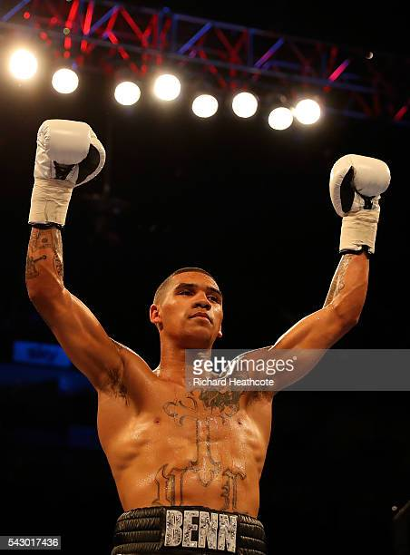 Conor Benn of Great Britain celebrates afer defeating Lukas Radic of The Czech Republic during their Super Lightweight contest at The O2 Arena on...