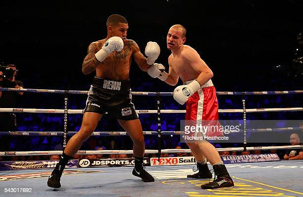 Conor Benn of Great Britain lands a punch on Lukas Radic of The Czech Republic during their Super Lightweight contest at The O2 Arena on June 25 2016...