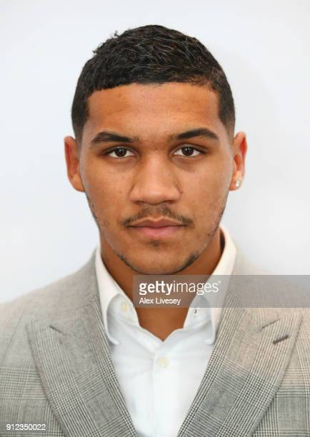 Conor Benn poses for a portrait after a press conference ahead of the Amir Khan v Phil Lo Greco fight at the Hilton Hotel on January 30 2018 in...