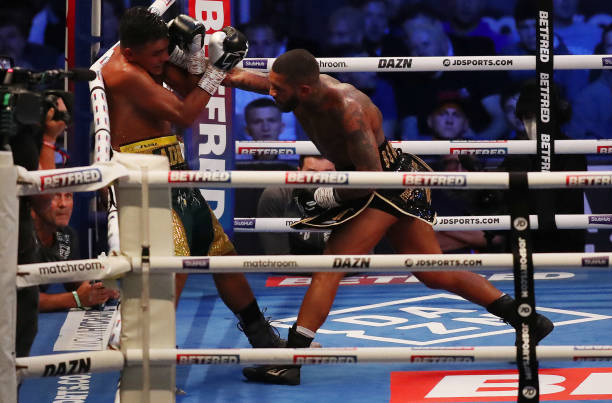 Conor Benn punches Adrian Granados during the WBA Continental Welterweight Title fight between Conor Benn and Adrian Granados at Emerald Headingley...