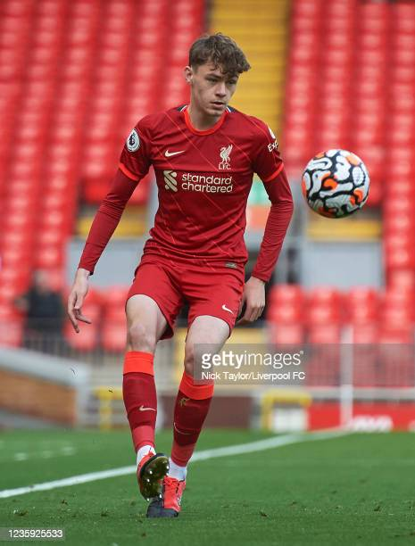Conor Bradley of Liverpool in action during the PL2 game at Anfield on October 16, 2021 in Liverpool, England.