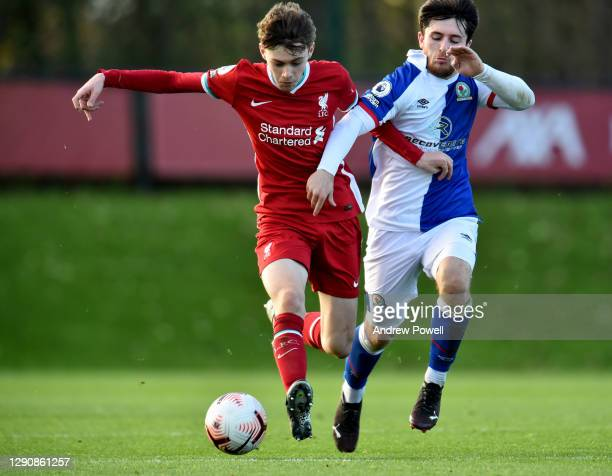 Conor Bradley of Liverpool U23's competing with Samuel Burns Blackburn Rovers U23 during the Premier League 2 match between Liverpool U23 and...