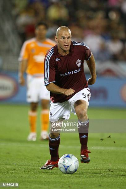 Conor Casey of the Colorado Rapids controls the ball against the Houston Dynamo on June 21 2008 at Dicks Sporting Goods Park in Commerce City Colorado