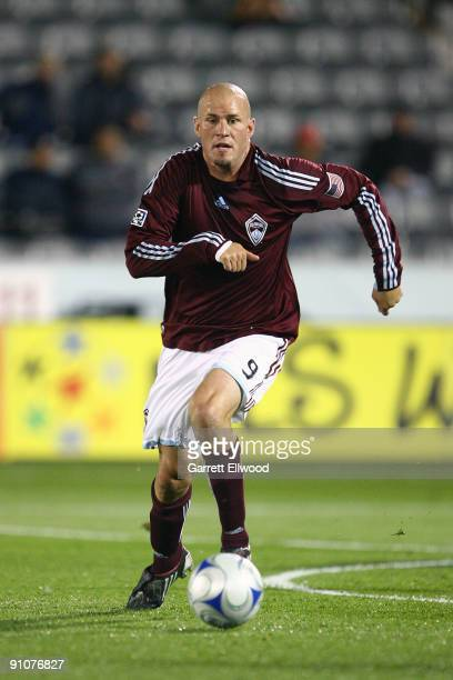 Conor Casey of the Colorado Rapids controls the ball against the San Jose Earthquakes on September 23 2009 at Dick's Sporting Goods Park in Commerce...