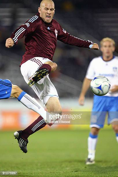 Conor Casey of the Colorado Rapids fights for the ball against the San Jose Earthquakes on September 23 2009 at Dick's Sporting Goods Park in...