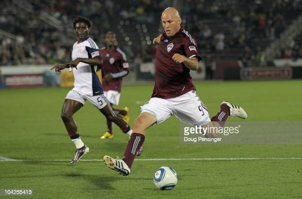 Conor Casey of the Colorado Rapids strikes the ball and scores in the 35th minute against the New England Revolution to give the Rapids a 20 lead at...