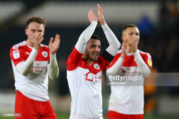 Conor Chaplin of Barnsley FC celebrates victory during the Sky Bet Championship match between Hull City and Barnsley at KCOM Stadium on February 26...