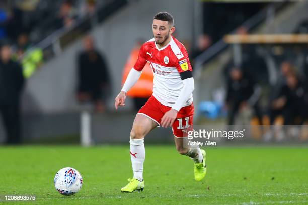 Conor Chaplin of Barnsley FC in action during the Sky Bet Championship match between Hull City and Barnsley at KCOM Stadium on February 26 2020 in...