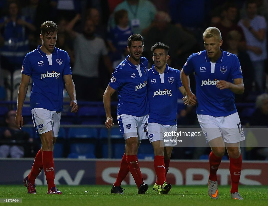 Conor Chaplin of Portsmouth celebrates scoring a goal during the Capital One Cup First Round match between Portsmouth v Derby County at Fratton Park on August 12, 2015 in Portsmouth, England.