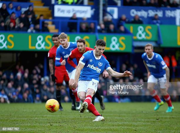 Conor Chaplin of Portsmouth misses from the spot during the Sky Bet League Two match between Portsmouth and Leyton Orient at Fratton Park on January...