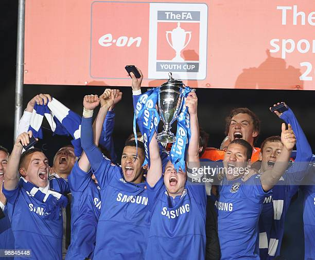 Conor Clifford Captain of Chelsea hold the Trophy aloft after winning the FA Youth Cup Final 2nd Leg between Chelsea and Aston Villa at Stamford...
