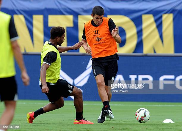 Conor Coady and Jordon Ibe of Liverpool in action during an open training session at Sunlife Stadium on August 3 2014 in Miami Florida