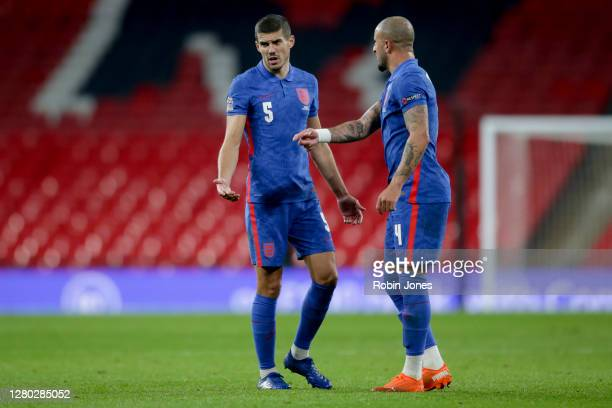 Conor Coady and Kyle Walker of England during the UEFA Nations League group stage match between England and Denmark at Wembley Stadium on October 14...