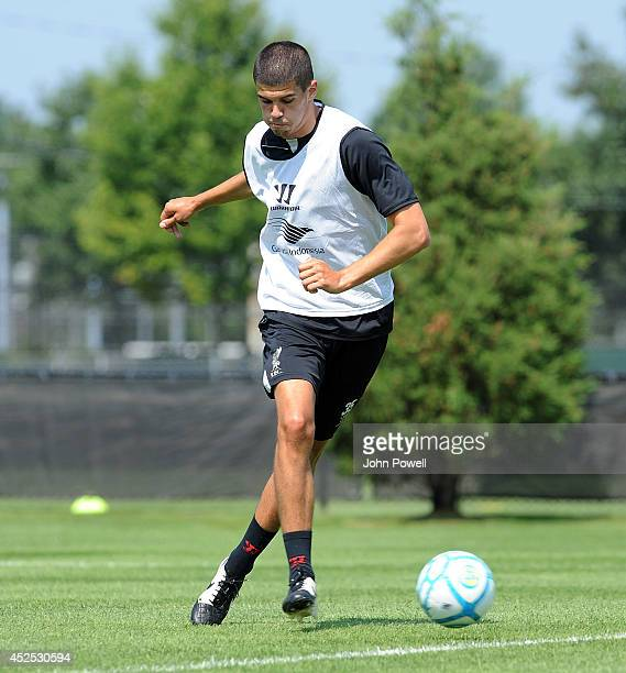 Conor Coady of Liverpool in action during a training session at Harvard University on July 22 2014 in Cambridge Massachusetts