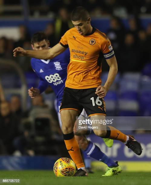 Conor Coady of Wolverhampton passes the ball during the Sky Bet Championship match between Birmingham City and Wolverhampton Wanderers at St Andrews...