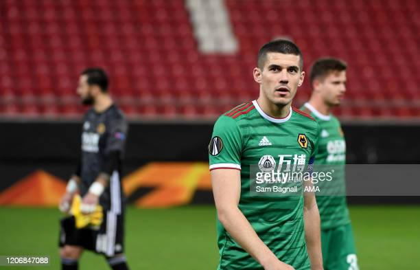 Conor Coady of Wolverhampton Wanderers at the end of the 11 draw in the UEFA Europa League round of 16 first leg match between Olympiacos FC and...
