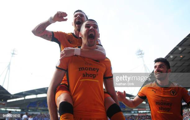 Conor Coady of Wolverhampton Wanderers celebrates after scoring a penalty during the Sky Bet Championship match between Bolton Wanderers and...