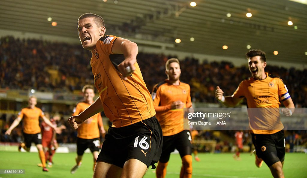 Conor Coady of Wolverhampton Wanderers celebrates after scoring a goal to make it 2-1 during the EFL Cup match between Wolverhampton Wanderers and Crawley Town at Molineux on August 8, 2016 in Wolverhampton, England.