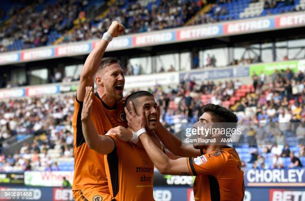 Conor Coady of Wolverhampton Wanderers celebrates after scoring a goal to make it 04 from a penalty kick during the Sky Bet Championship match...