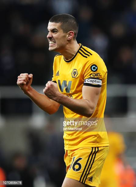 Conor Coady of Wolverhampton Wanderers celebrates at full time during the Premier League match between Newcastle United and Wolverhampton Wanderers...