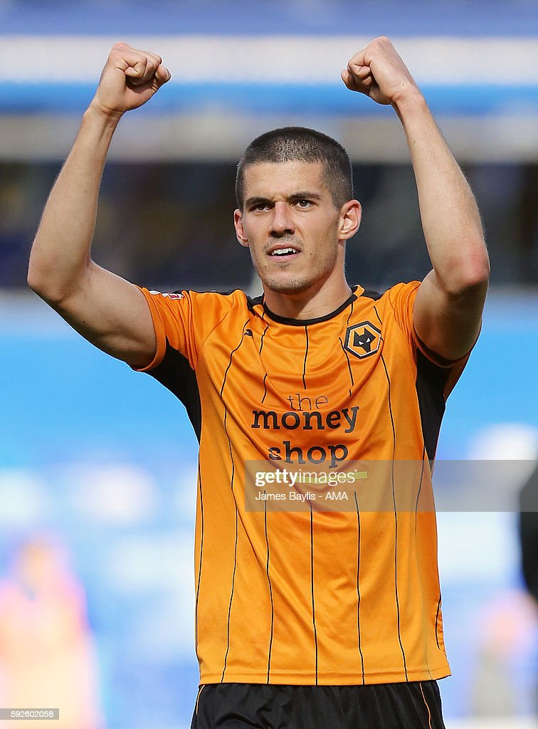 Conor Coady of Wolverhampton Wanderers celebrates at full time during the Sky Bet Championship match between Birmingham City and Wolverhampton Wanderers at St Andrews (stadium) on August 20, 2016 in Birmingham, England.