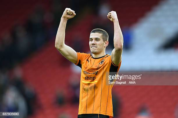 Conor Coady of Wolverhampton Wanderers celebrates at full time during The Emirates FA Cup Fourth Round between Liverpool and Wolverhampton Wanderers...