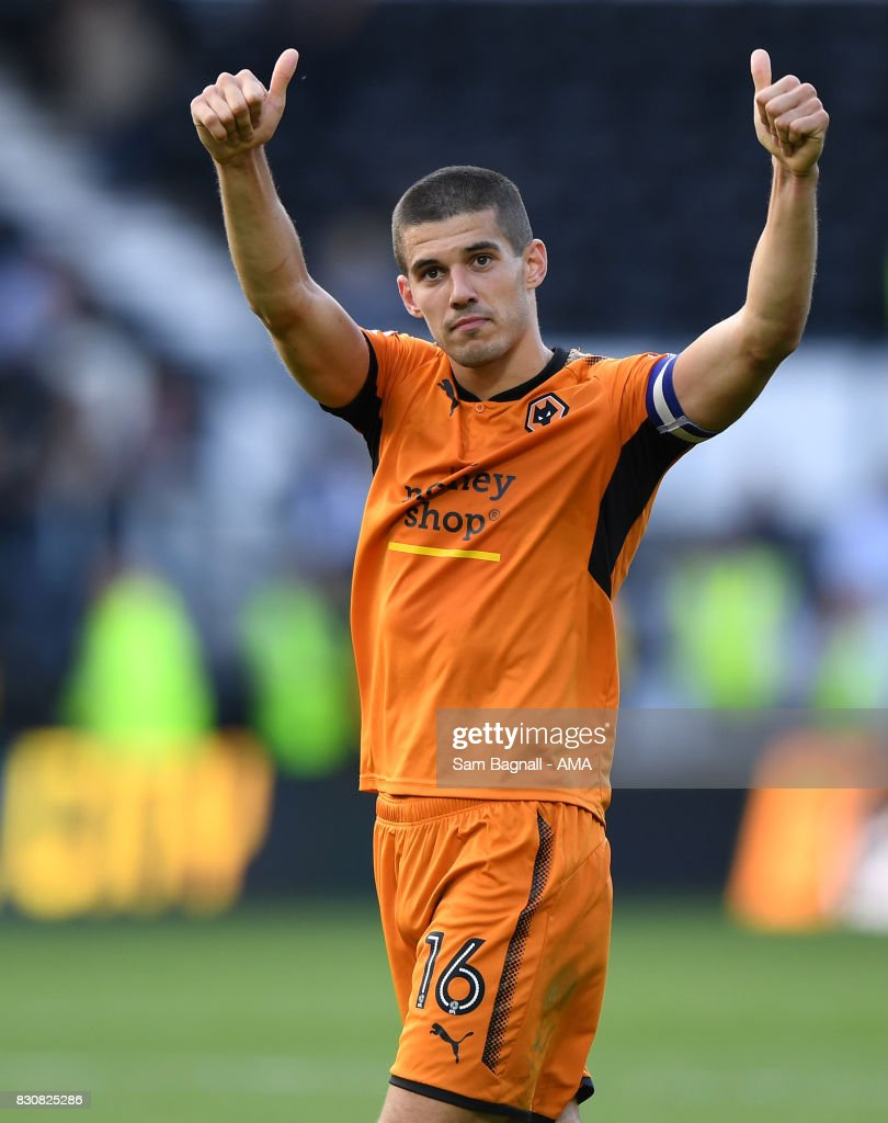 Conor Coady of Wolverhampton Wanderers celebrates at full time during the Sky Bet Championship match between Derby County and Wolverhampton at iPro Stadium on August 12, 2017 in Derby, England.