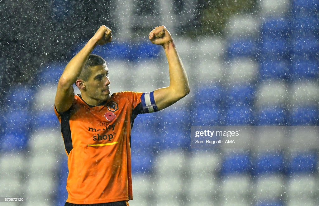 Conor Coady of Wolverhampton Wanderers celebrates at full time during the Sky Bet Championship match between Reading and Wolverhampton at Madejski Stadium on November 18, 2017 in Reading, England.