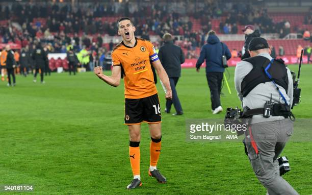 Conor Coady of Wolverhampton Wanderers celebrates at full time during the Sky Bet Championship match between Middlesbrough and Wolverhampton...