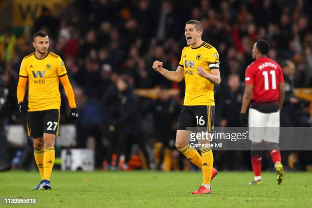Conor Coady of Wolverhampton Wanderers celebrates following his sides victory in the Premier League match between Wolverhampton Wanderers and...