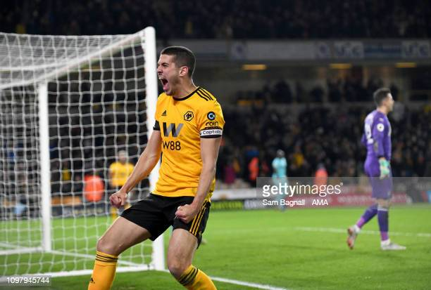 Conor Coady of Wolverhampton Wanderers celebrates Wolves equaliser during the Premier League match between Wolverhampton Wanderers and Newcastle...