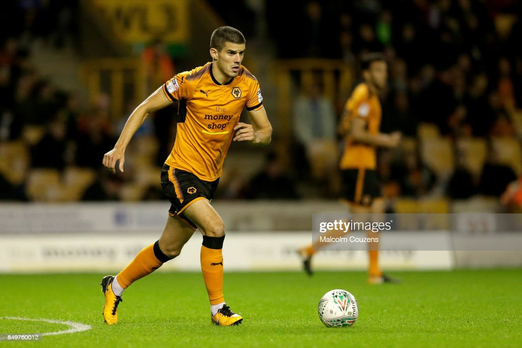 Conor Coady of Wolverhampton Wanderers during the Carabao Cup tie between Wolverhampton Wanderers and Bristol Rovers at Molineux on September 19, 2017 in Wolverhampton, England.