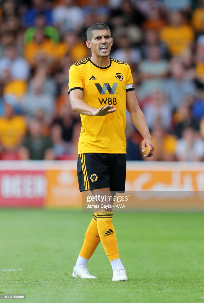 Conor Coady of Wolverhampton Wanderers during the Pre Season Friendly between Wolverhampton Wanderers and Ajax at Banks' Stadium on July 19, 2018 in Walsall, England.