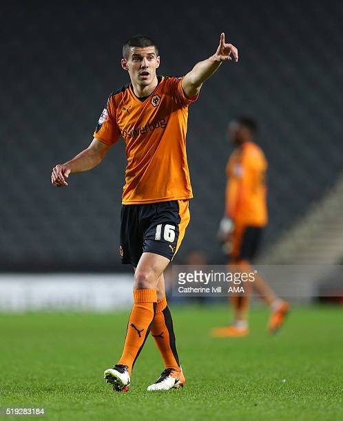 Conor Coady of Wolverhampton Wanderers during the Sky Bet Championship match between MK Dons and Wolverhampton Wanderers at Stadium mk on April 5...