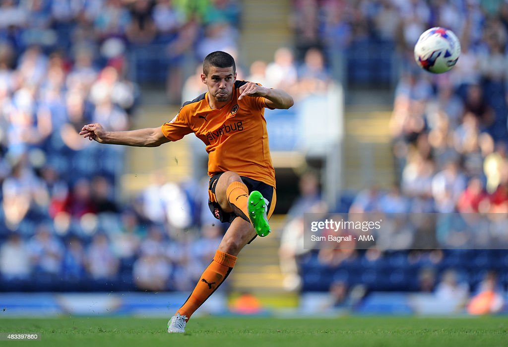 Conor Coady of Wolverhampton Wanderers during the Sky Bet Championship match between Blackburn Rovers and Wolverhampton Wandereres at Ewood park on August 8, 2015 in Blackburn, England.