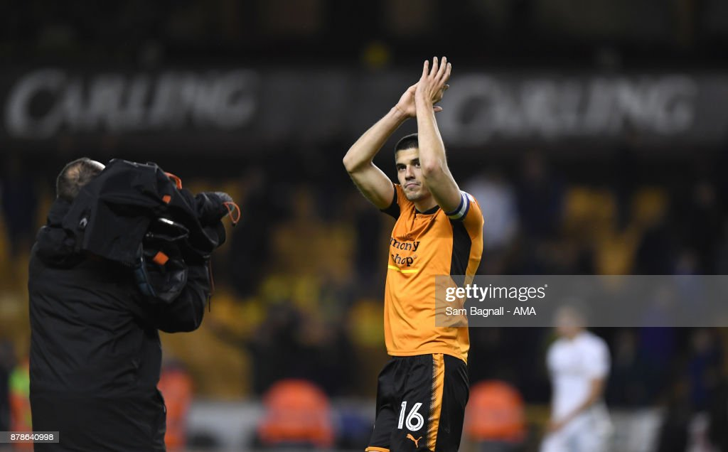 Conor Coady of Wolverhampton Wanderers during the Sky Bet Championship match between Wolverhampton and Leeds United at Molineux on November 22, 2017 in Wolverhampton, England.