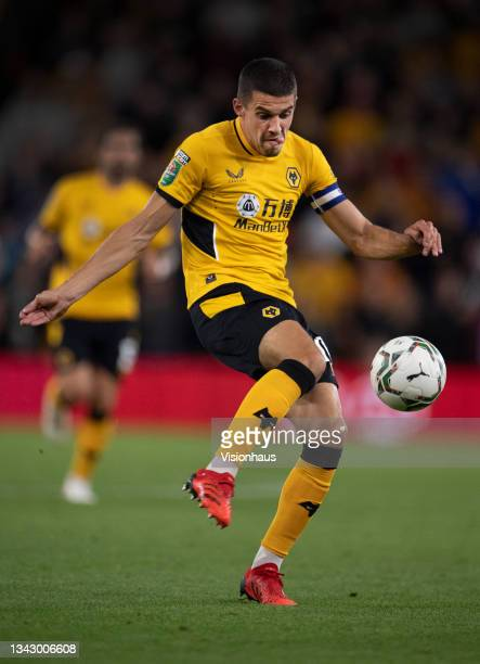 Conor Coady of Wolverhampton Wanderers in action during the Carabao Cup Third Round match between Wolverhampton Wanderers and Tottenham Hotspur at...
